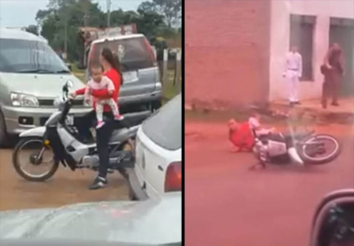 UNILAD mother moped WEB61151 Mother Crashes Moped While Driving With One Hand And Holding Baby