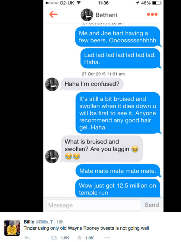 UNILAD tinder rooney 344285 Tinder User Messaged Girls Using Only Wayne Rooney Tweets, It Didnt Go Well
