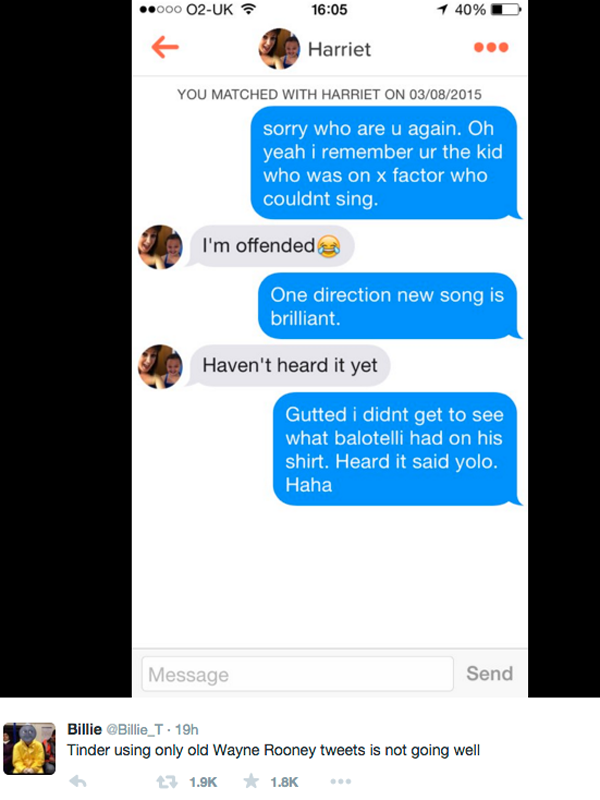 UNILAD tinder rooney 468292 Tinder User Messaged Girls Using Only Wayne Rooney Tweets, It Didnt Go Well