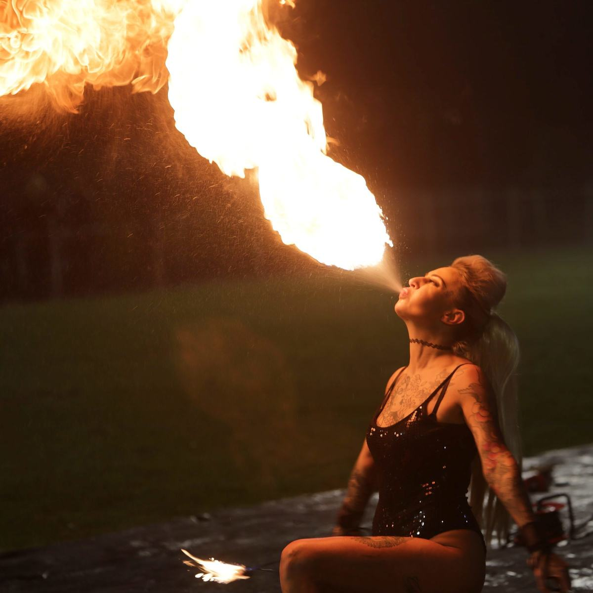 Mayor Hired Leather Clad Stunt Women For Family Bonfire Night Display UNILAD SWNS SPARKS 01855996