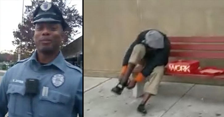 Kind Police Officer Buys New Shoes For Homeless Man Kicked Off Bus UNILAD police homeless 1311718080