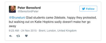 hopkins tweet Katie Hopkins Claims Student Walk Out At Her Debate Encouraged By Staff