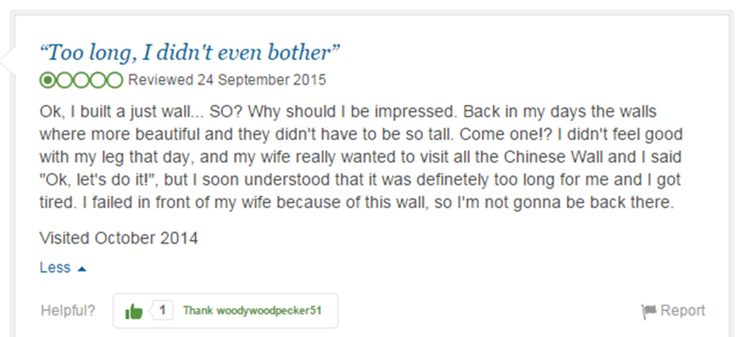 trip advisor review 6 Eight Of The Funniest Trip Advisor Reviews Of Worlds Most Famous Landmarks