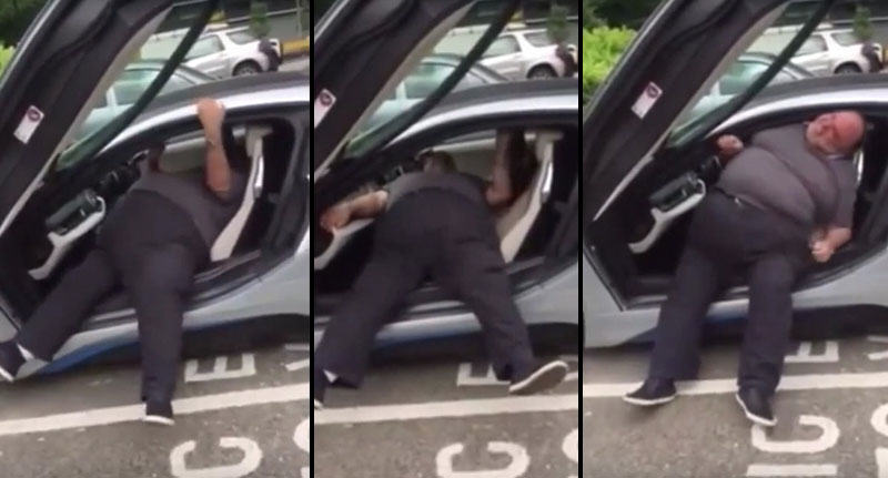 FaceThumb 64 Video Of Obese Driver Struggling To Get Out Of His BMW Goes Viral