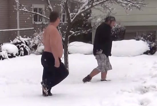 dick1 Shirtless Hero Confronts Present Stealing Dickhead Despite The Snow