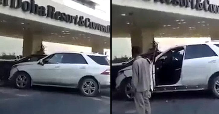 expensive crash FB Drunk Man Smashes Mercedes Benz Into Rolls Royce Outside Hotel