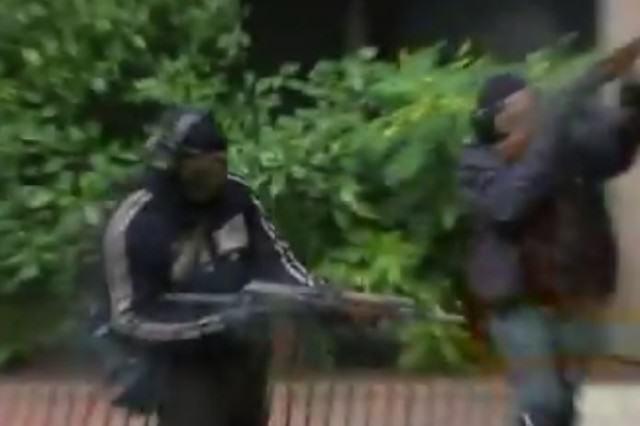 fake gunmen 640x426 Police Training Video Shows What Paris Style Attack On UK Could Look Like