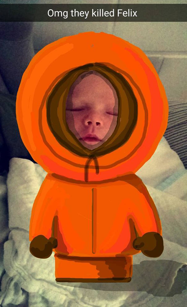 felix7 This Dads Snapchat Drawings On His Kid Are Incredible