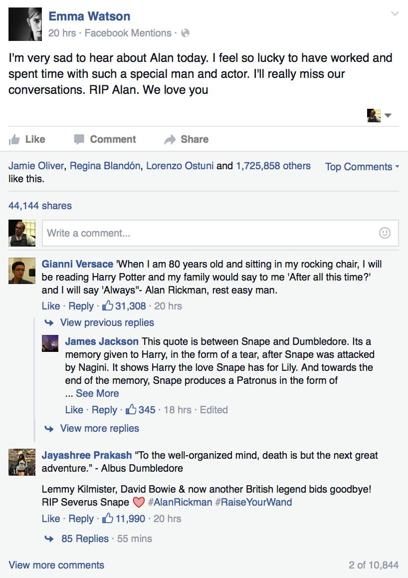 The Internet Didnt React Well To Emma Watsons Tribute To Alan Rickman 12544642 10101915270310355 395735173 o