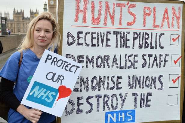 Jeremy Hunt Forces New Contract On Junior Doctors To End Pay Row Protesters on Westminster Bridge close to St Thomas Hospital in London
