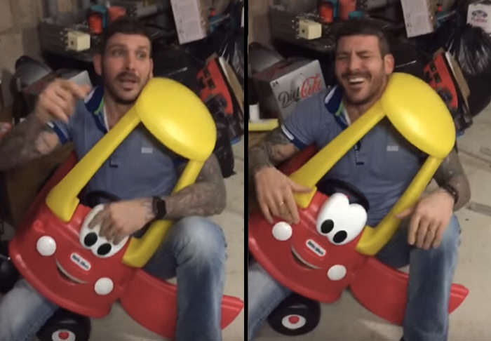 car 2  Man Gets Stuck In Kiddie Car, Because Alcohol