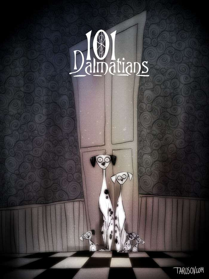 dalmations Delightfully Creepy Reimaginings Of Disney Classics As Tim Burton Films