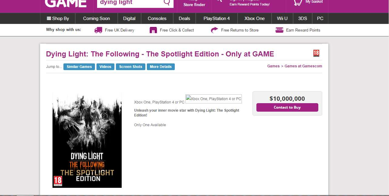 dyinglight 1 Dying Light: The Following Collectors Edition Costs £6.9 million