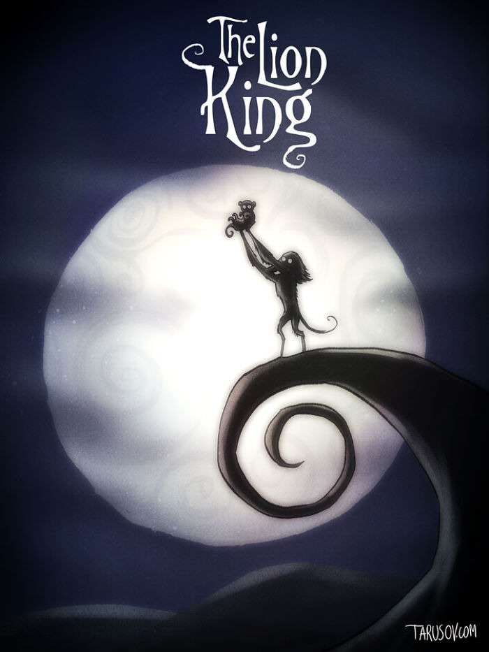 lionking Delightfully Creepy Reimaginings Of Disney Classics As Tim Burton Films