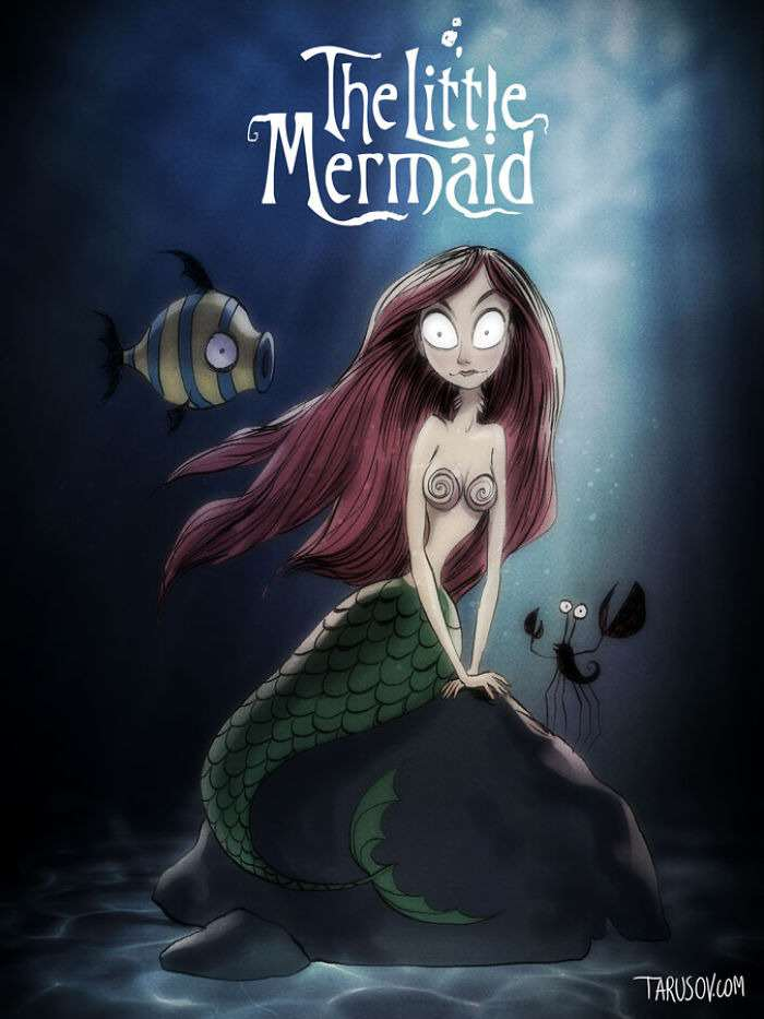 littlemermaid Delightfully Creepy Reimaginings Of Disney Classics As Tim Burton Films