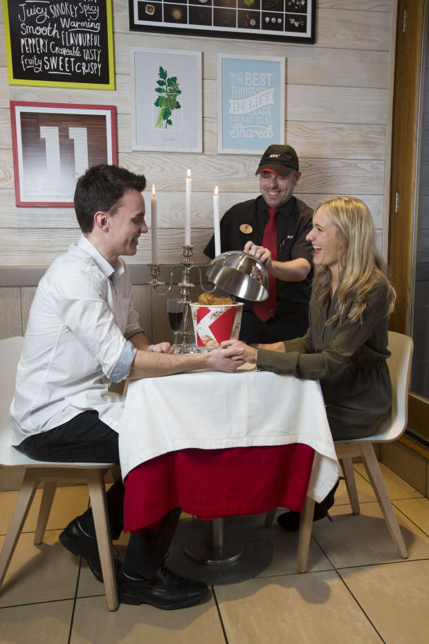 regional general manager gary mather presents the kfc bargain bucket better than any bouquet this valentinec3b4c3a7c3b6s day KFC Are Trying Out Romantic Table Service For Valentines Day