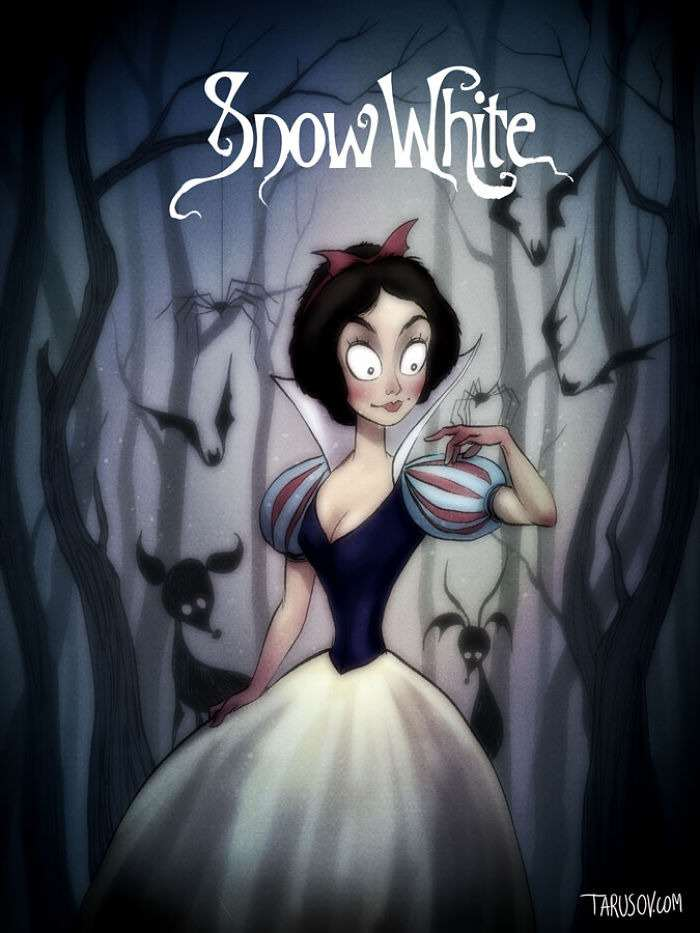snowwhite Delightfully Creepy Reimaginings Of Disney Classics As Tim Burton Films