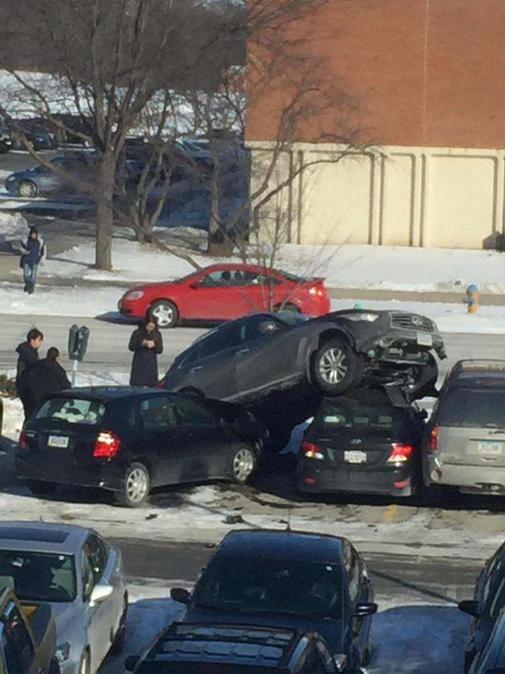 suv1 Peoples Reaction To This SUV Crashed On Top Of Cars Proves Humanity Is F*cked
