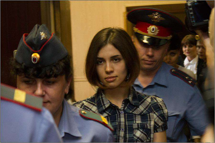 Nadezhda Tolokonnikova Pussy Riot at the Moscow Tagansky District Court   Denis Bochkarev Man Facing Jail For Calling Out God On Social Media