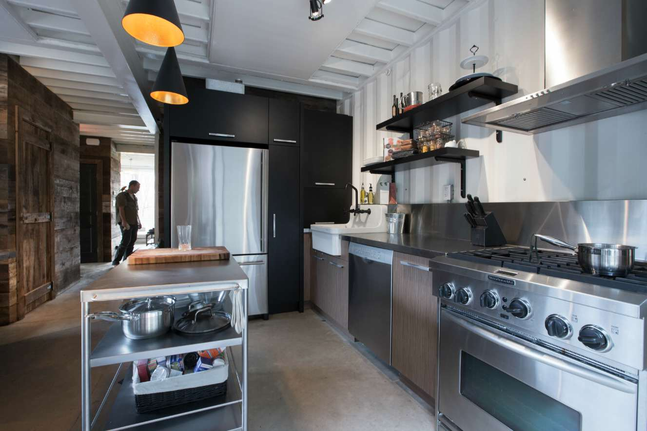 kitchen This Woman Built An Insanely Cool Home From A Shipping Container
