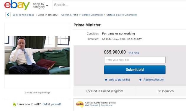 %name Someone Put David Cameron On Ebay Because Hes No Longer Needed