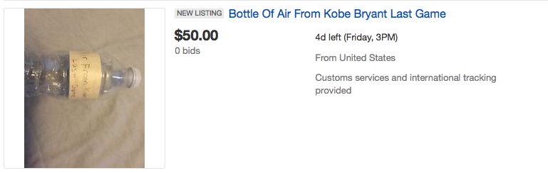 Screen Shot 2016 04 18 at 15.10.33 People Are Seriously Bidding On Air From Kobe Bryants Last Game