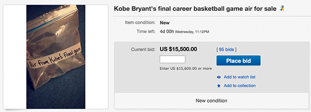 Screen Shot 2016 04 18 at 15.37.26 People Are Seriously Bidding On Air From Kobe Bryants Last Game