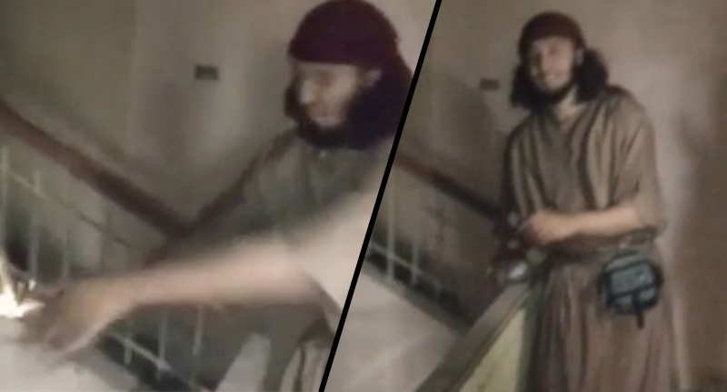 isis jackass FB Idiotic ISIS Jihadi Nearly Blows Himself Up In Crazy Suicide Belt Prank