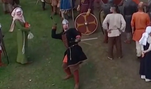 spear1 Russian Knight Takes Out Drone With Unbelievable Spear Throw