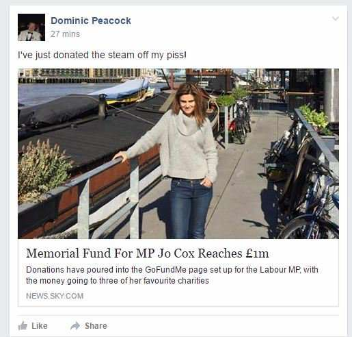 Tory Councillor In Serious Trouble Over Offensive Comments About Jo Cox %name