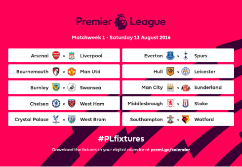 fl fixtures The Premier League Fixtures For 2016/17 Have Been Announced