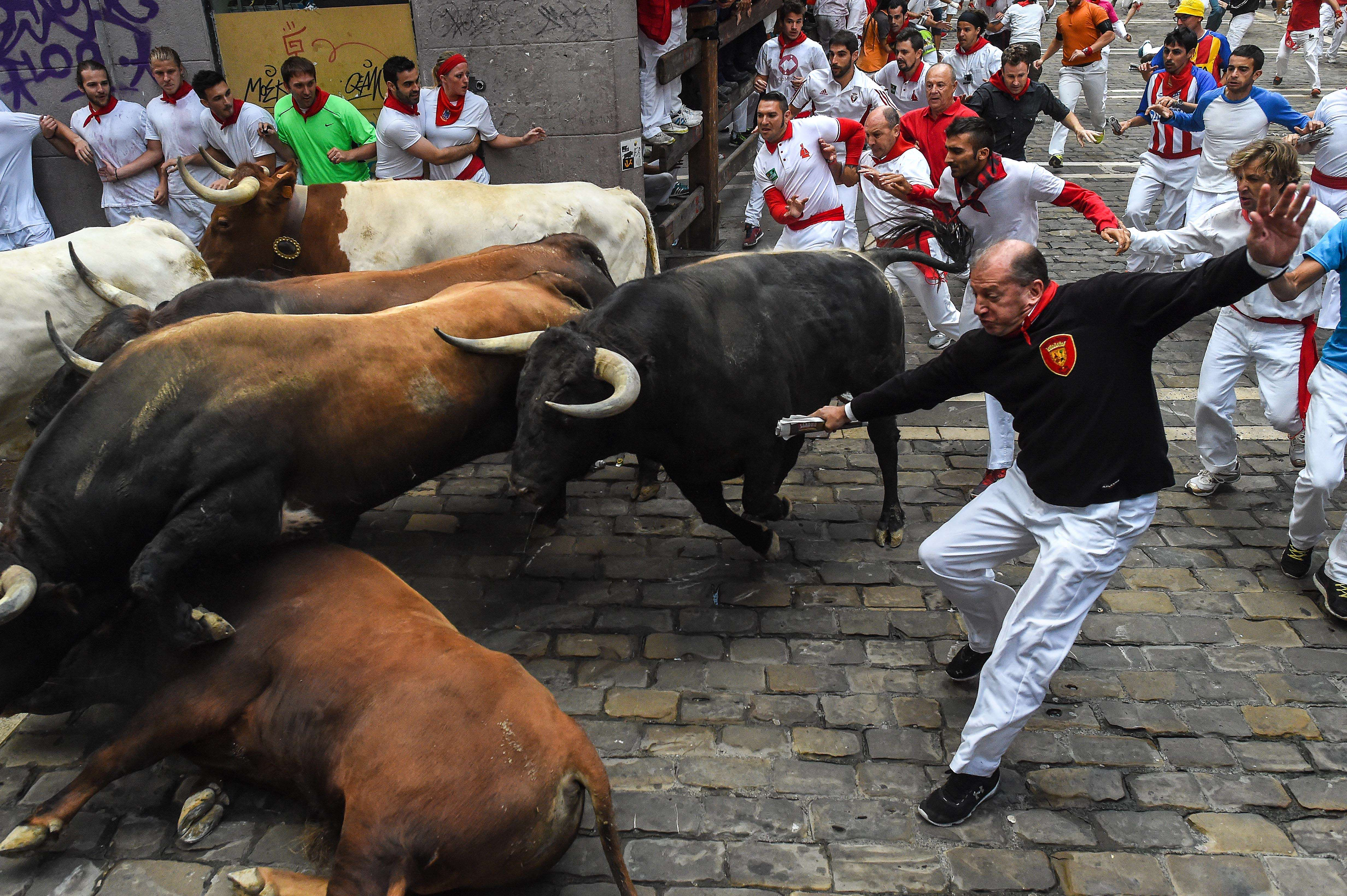 GettyImages 479854010 Video Shows Brutal Reality Of Bull Running, As Spain Sees Third Goring Death