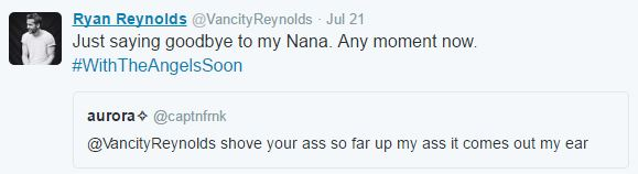 Its Impossible To Gross Out Ryan Reynolds On Twitter It Seems ryan tweet 7