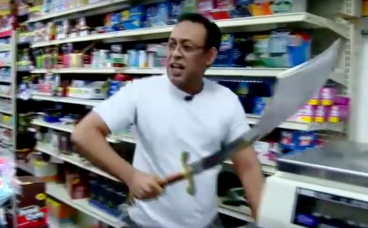 sword2 Shopkeeper Pulls Out Huge Scimitar To Have Swordfight With Robber