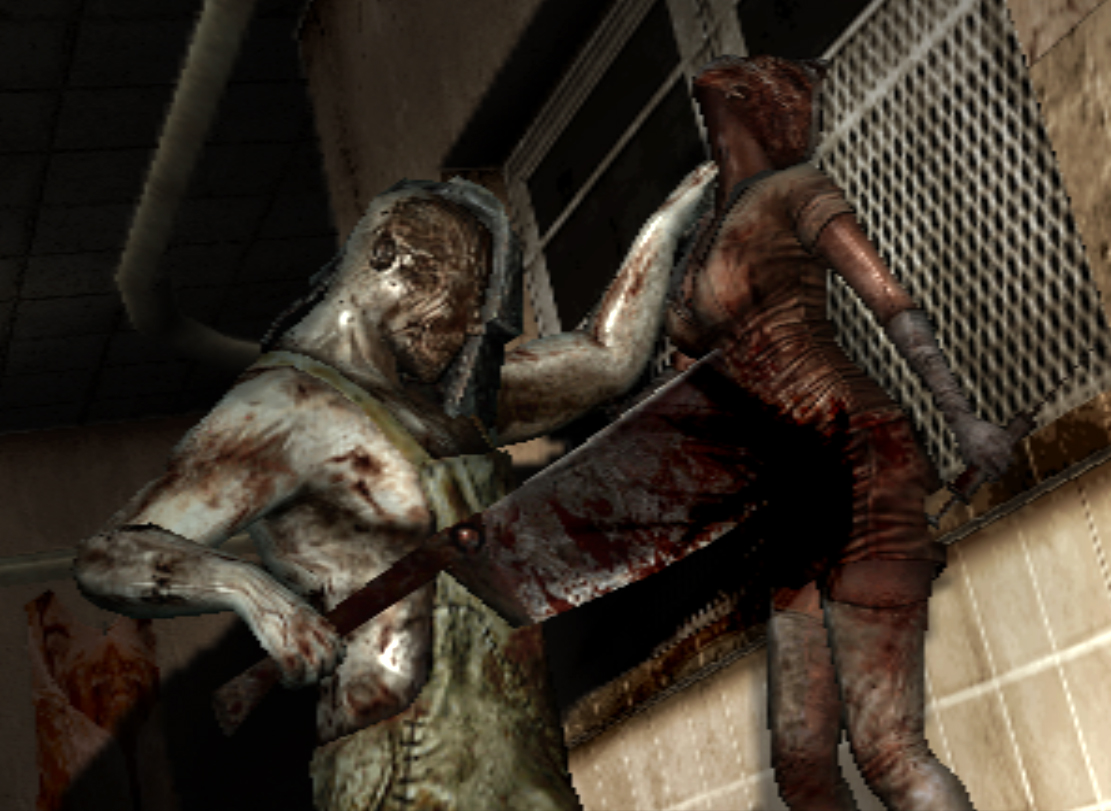 Butcher killing nurse Cancelled Silent Hill Game Footage Surfaces Online