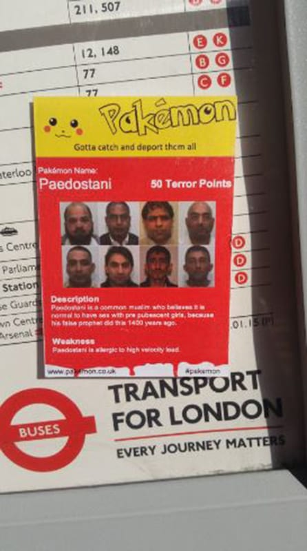 37964UNILAD imageoptim captureasasc1 Racist Pokemon Card Stickers Have Been Appearing In London