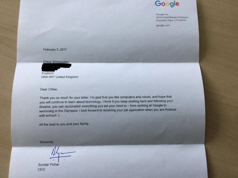 Google CEO Sends 7 Year Old Priceless Letter After She Applied For A Job