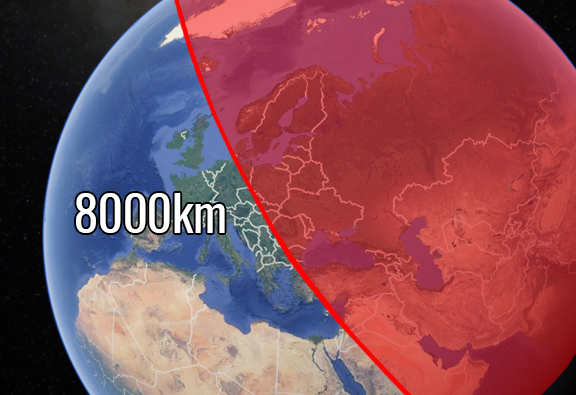 This Map Shows The Countries At Risk From North Korean Missiles 8000 km bomb
